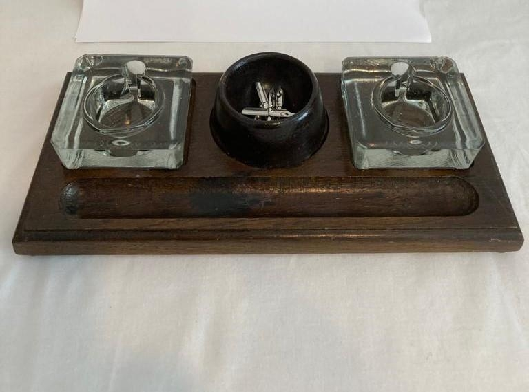 Antique oak desk set, 2 glass inkwells with pen stands and a centre bowl still containing pen