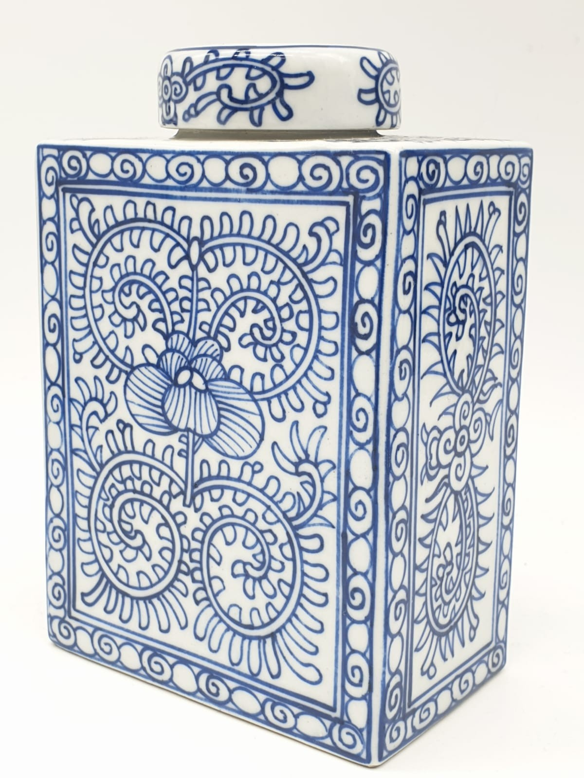 A Japanese, white and blue hand painted, rectangular, porcelain, storage jar, with lid. - Image 7 of 12