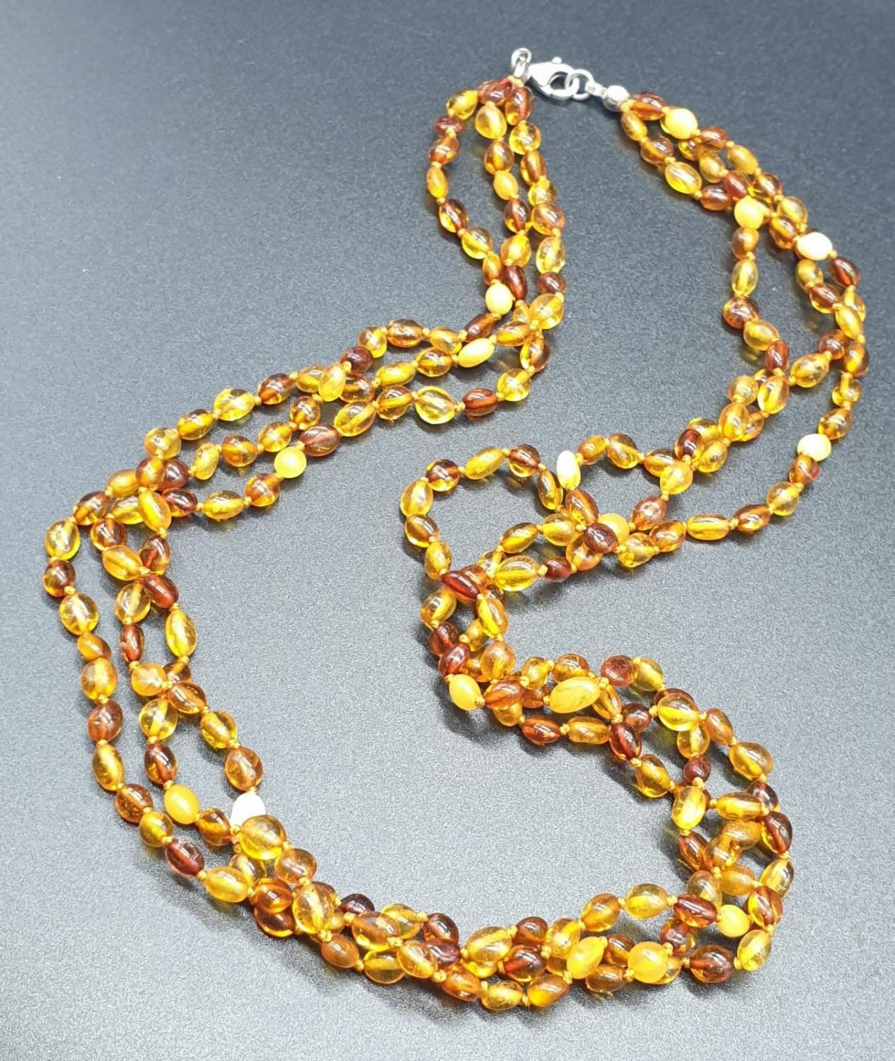 3 Rows Amber Necklace with Silver Clasp 14.8g 45cms - Image 3 of 4
