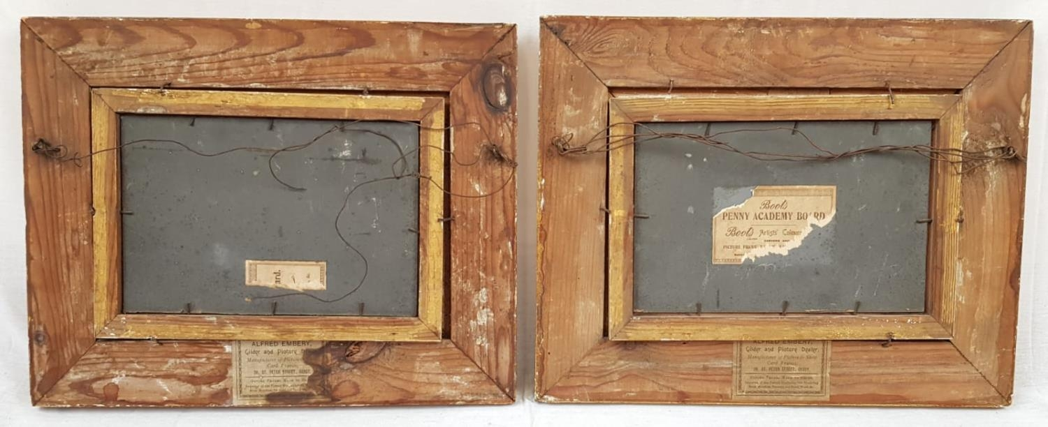 Pair of Oil on Board Ocean Views in nicely aged Gilt Frames. Signed by MP. Both 39 x 31cm. - Image 3 of 6