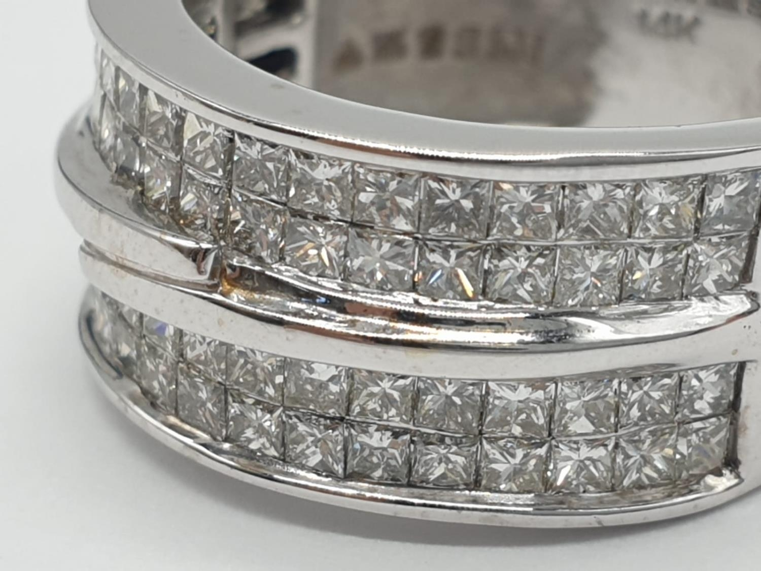 14ct white gold ring with 1.87ct diamonds. Size M and weighs 6.8g. - Image 2 of 6