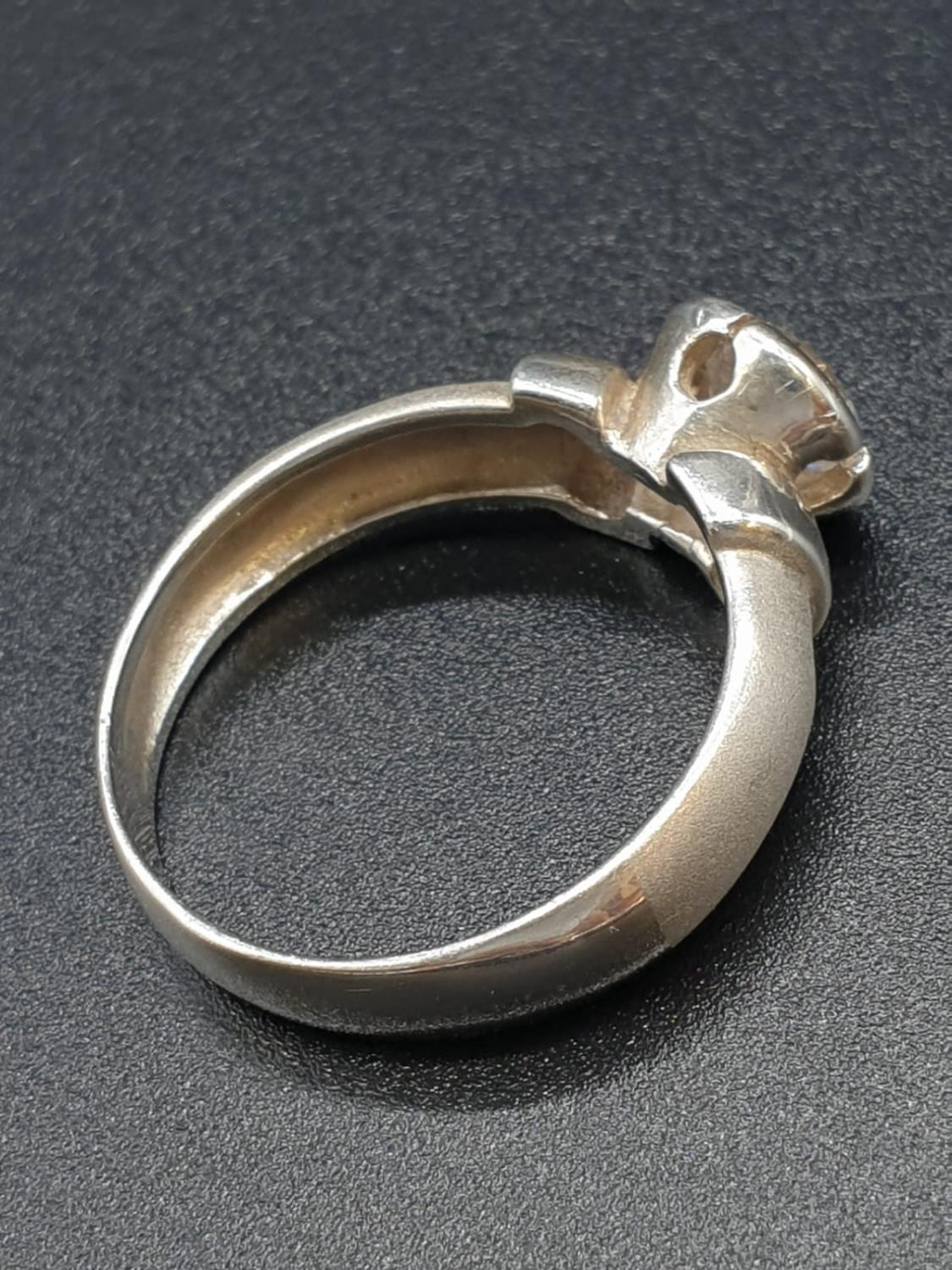Silver Ring with large CZ Stone 3.6g Size P - Image 3 of 7