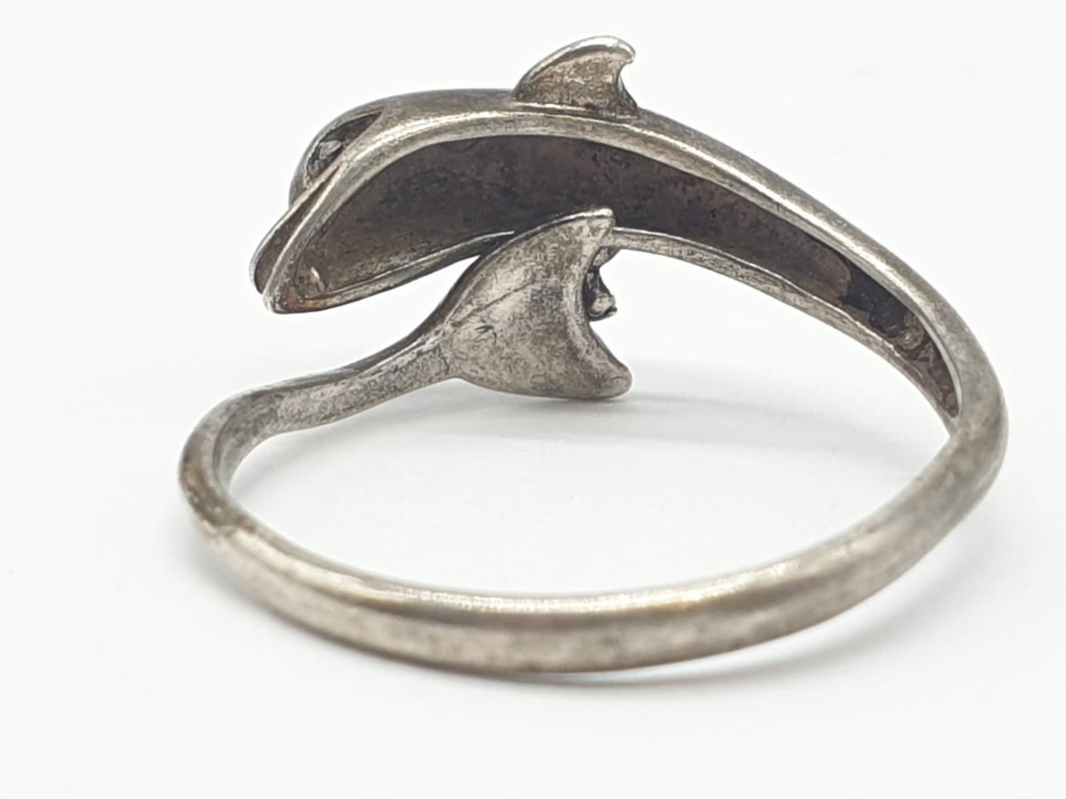 2 x Silver RINGS, Dolphin Size O. Star Size J. 5.1g - Image 6 of 12