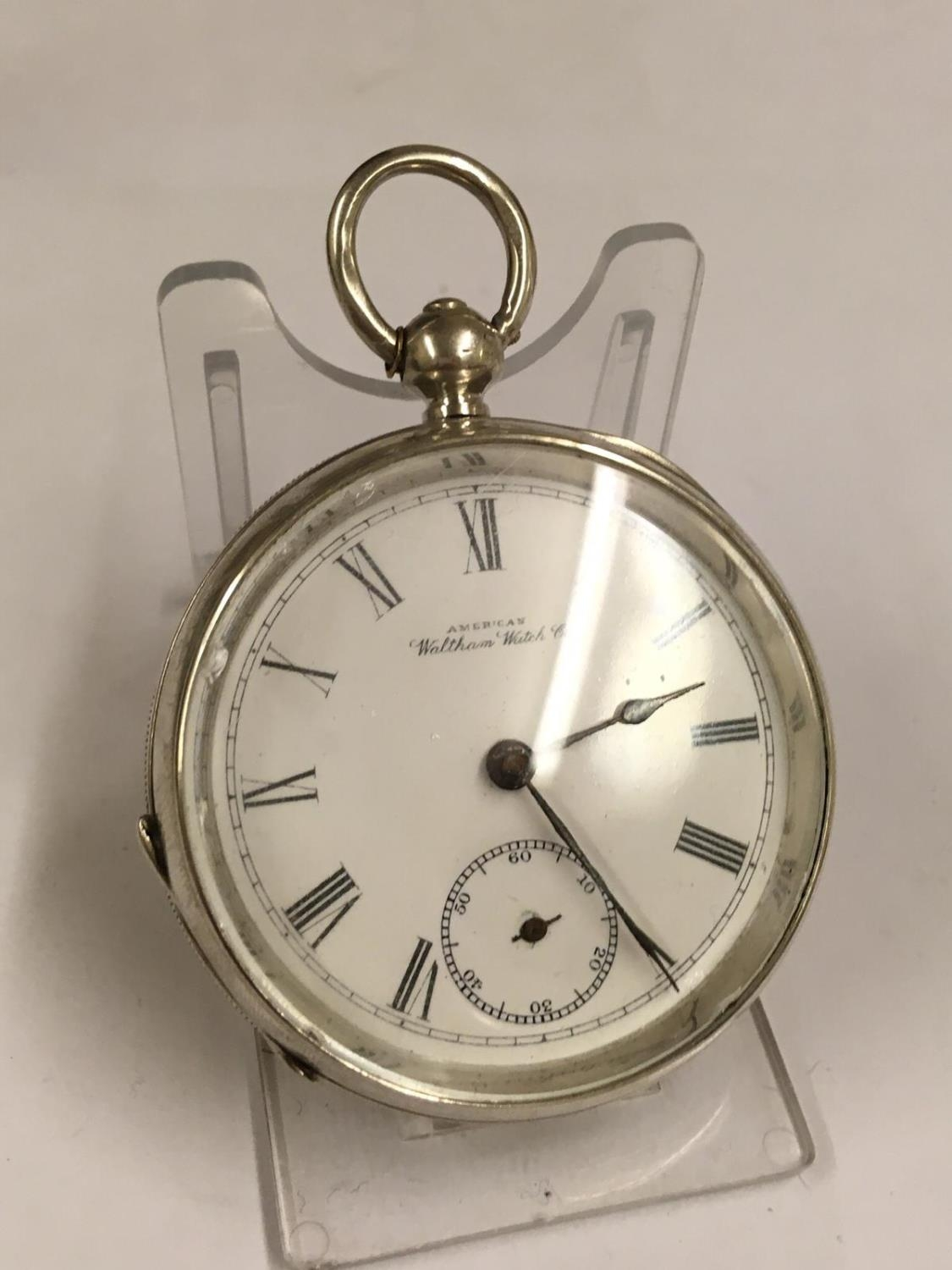 Antique solid silver Waltham Broadway , ticks if shaken but sold with no guarantees