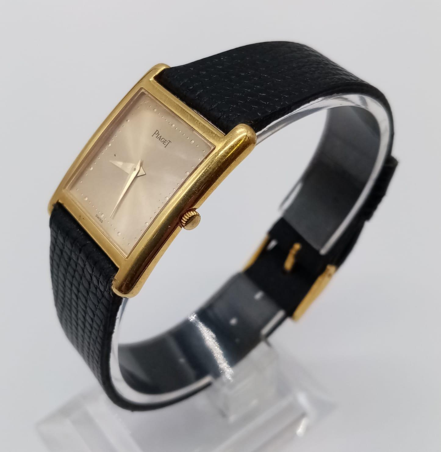 Vintage Plaget 18ct gold ladies watch with square face (22mm) and leather strap - Image 2 of 10