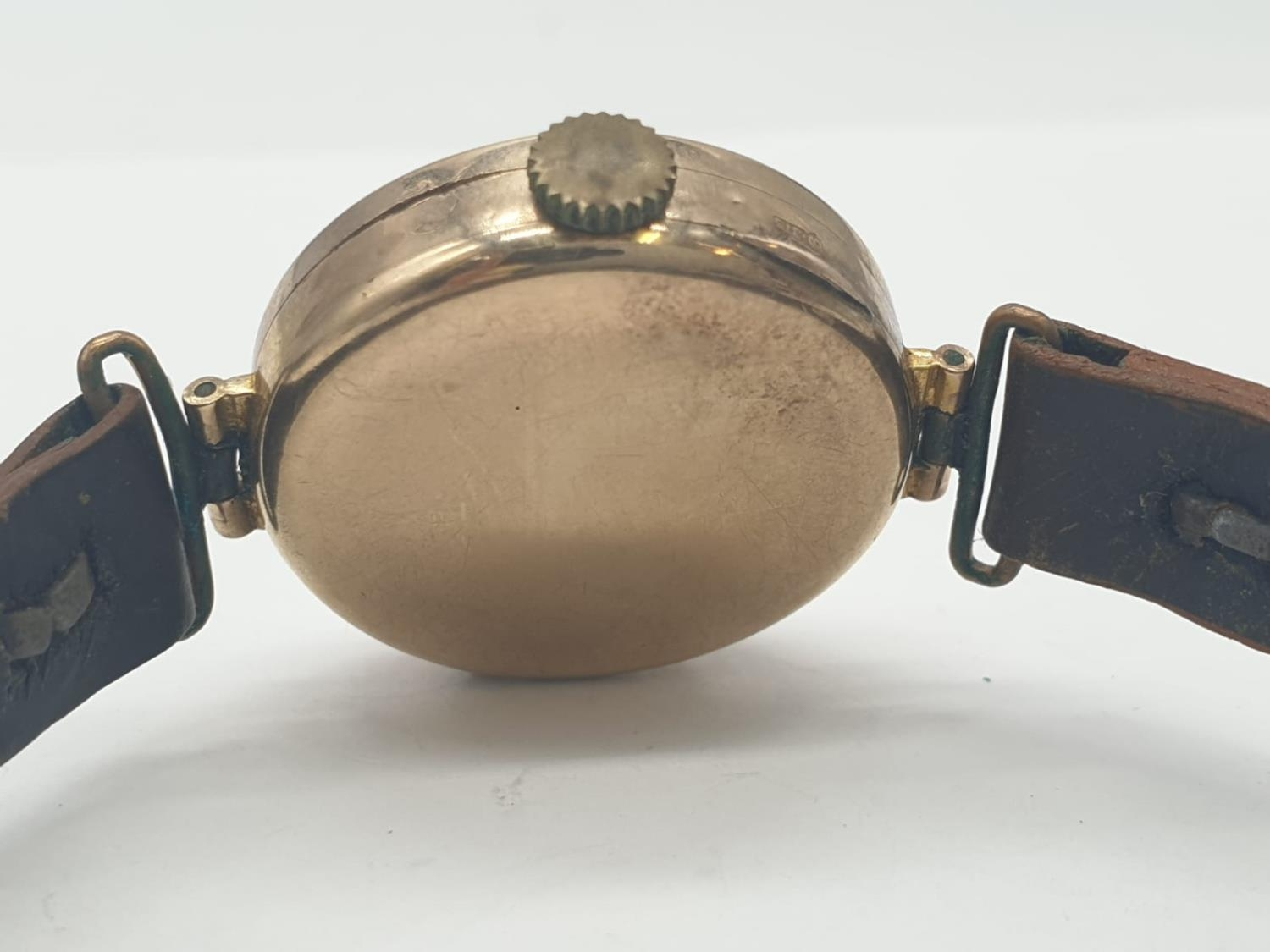 Vintage 9ct gold ladies wrist watch with leather strap - Image 6 of 9