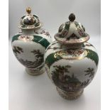 Pair of Augustus Rex, Meissen porcelain ginger jars late 19th century, hand painted with gilt