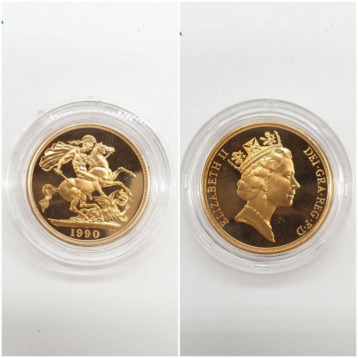 1990 UK GOLD PROOF SOVEREIGN 4 COIN COLLECTION TO INCLUDE A £5 COIN, A DOUBLE SOVEREIGN COIN, A - Image 4 of 5