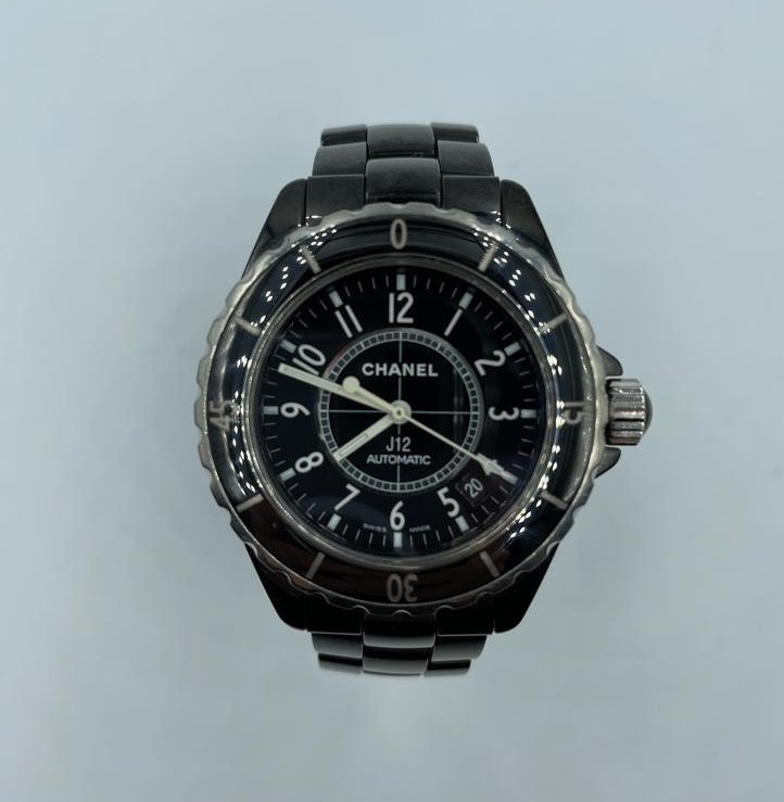 Chanel large ceramic automatic watch, black face and strap