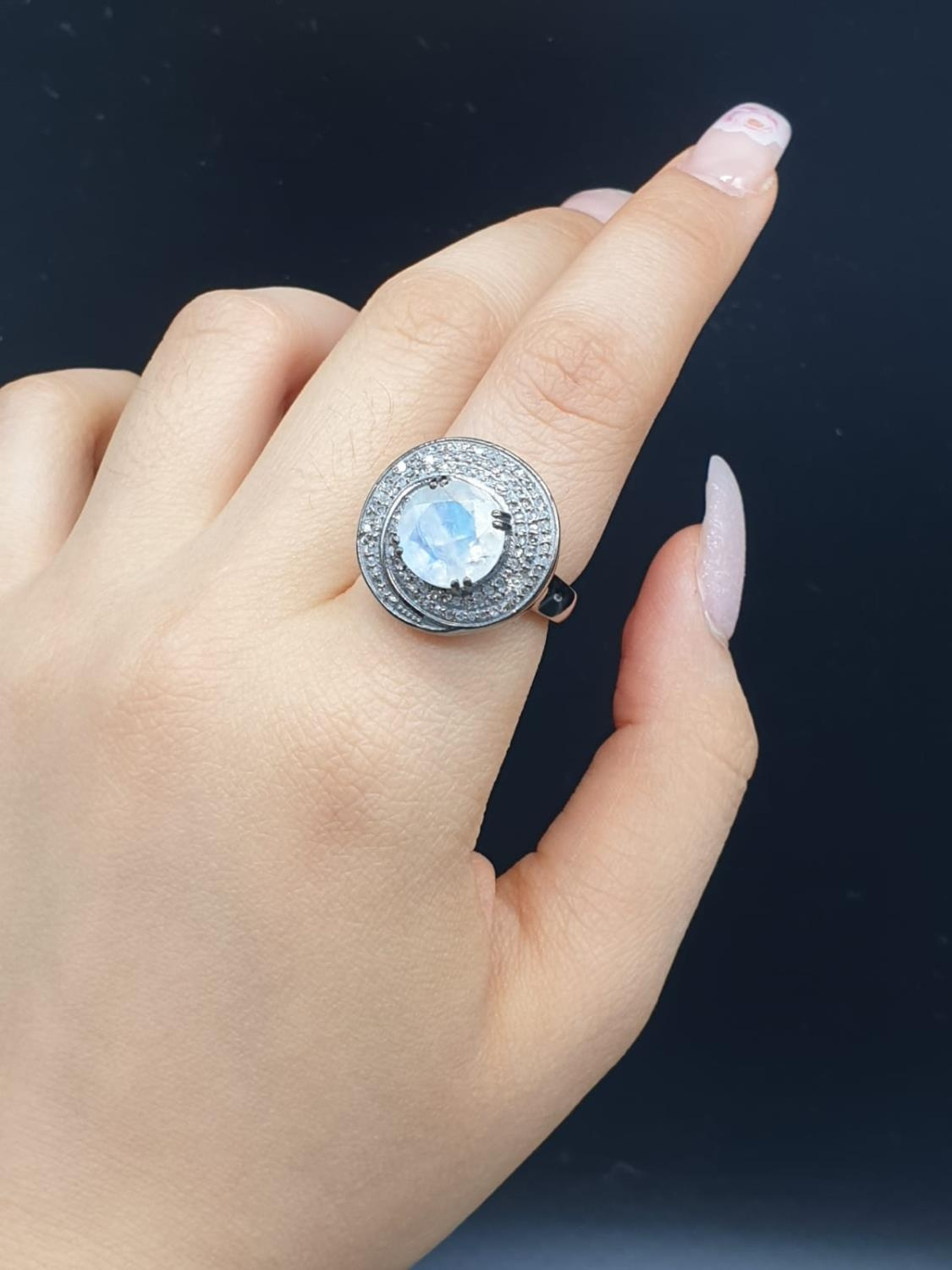 4 Ct Moonstone Ring with 0.75 Ct Rose cut diamonds. Blackened silver. - Image 6 of 8