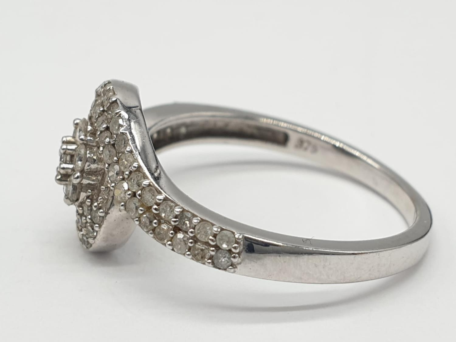 9ct white gold diamond twist cluster ring, 0.50ct diamond approx, weight 2.5g and size P - Image 3 of 7
