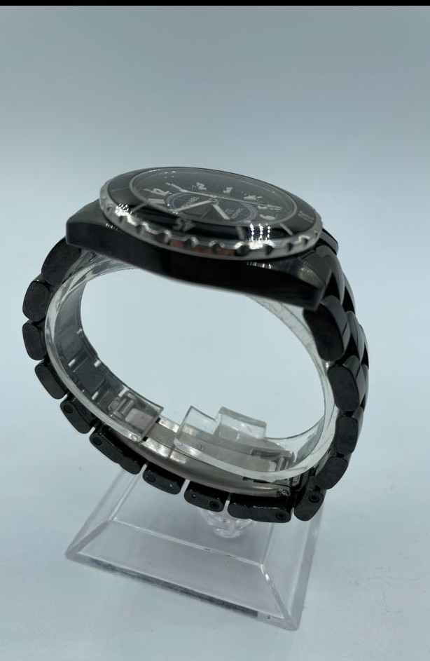 Chanel large ceramic automatic watch, black face and strap - Image 3 of 3