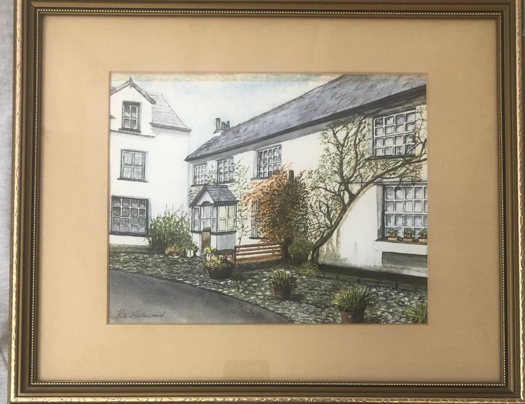 A lovely framed water colour PRINT by the artist Rita Halewood, of Rose Cottage, Hawkshead. 39 x