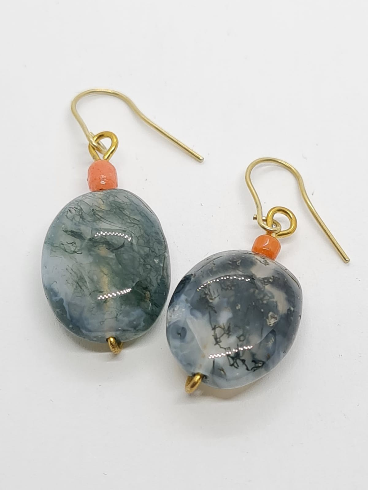 Dendrich Agate and Coral EARRINGS .