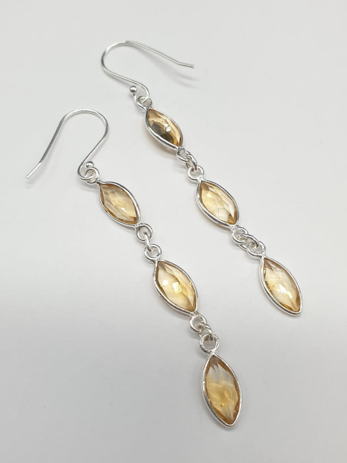 Marquise Shape Citrine Bracelet with Matching Dangler Earrings and Ring in Sterling Silver. Ring - Image 2 of 6