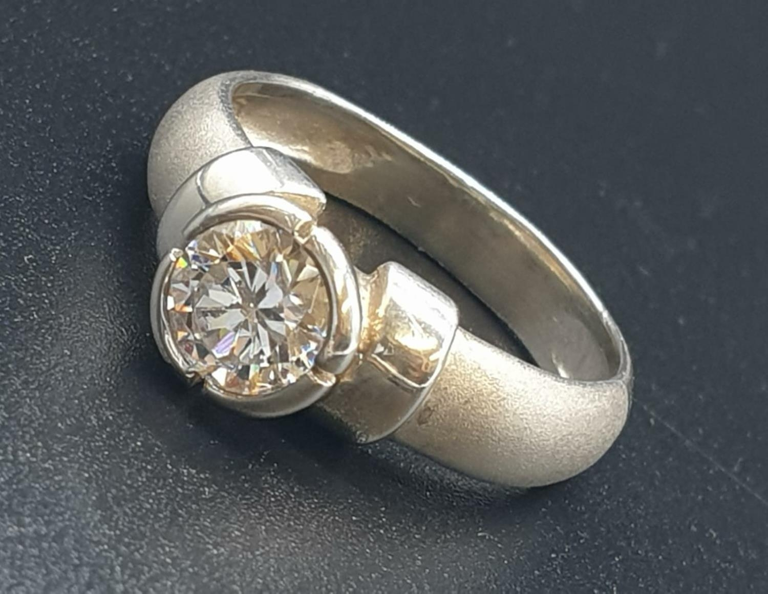 Silver Ring with large CZ Stone 3.6g Size P