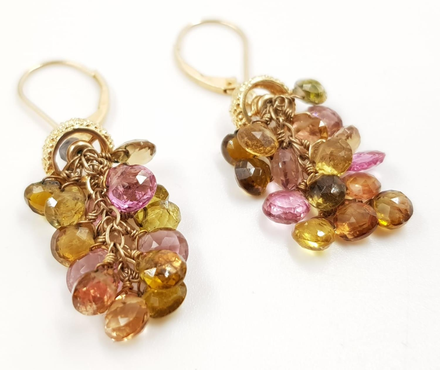 A pair of ladies 14ct gold, sapphire drop earrings. 6.6g total weight.