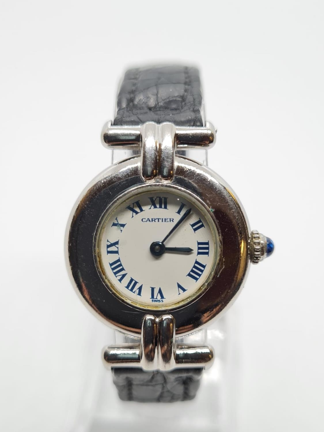 Vintage Cartier Ladies quartz WATCH with round face and Roman numerals. set in 925 Silver with