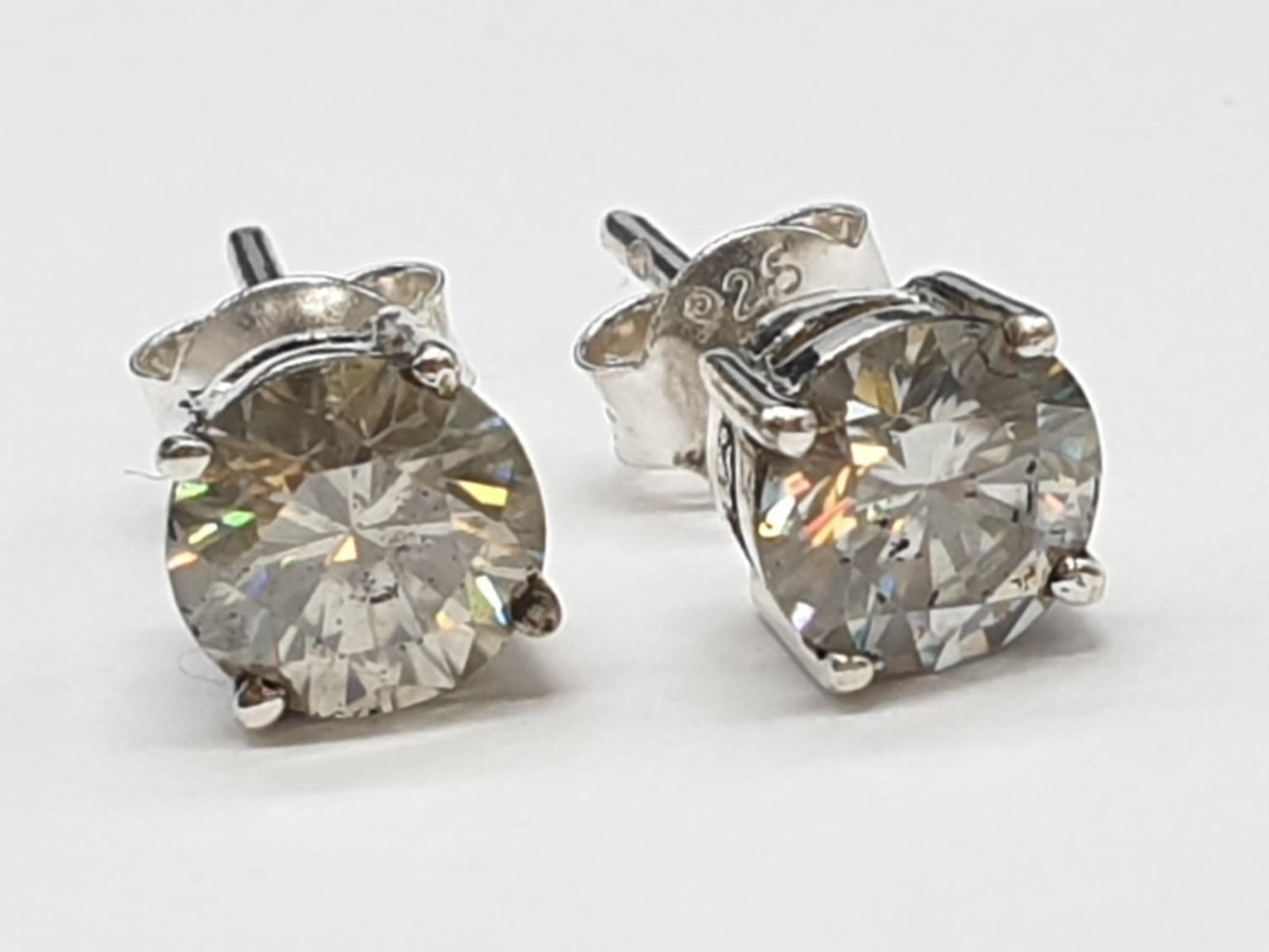 1.80cts White Moissanite Stone Stud Earrings in Sterling Silver with butterfly clips. Weight 1.63
