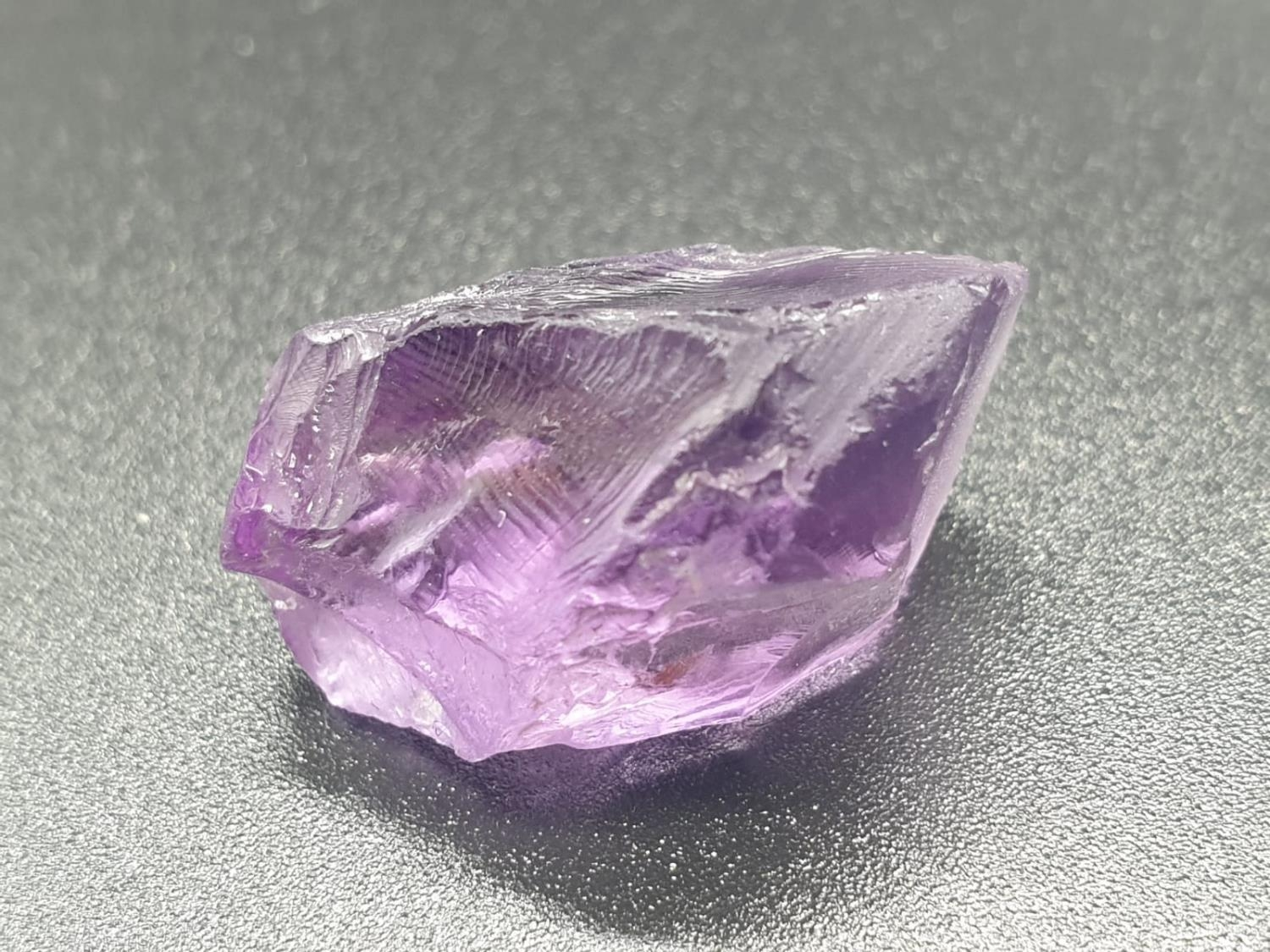 20.21 Ct Loose Natural Amethyst. Rough shape. IDT certified - Image 2 of 5