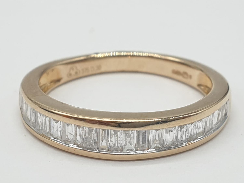9ct yellow gold diamond half eternity ring, 0.30ct diamond, weight 1.9g and size J