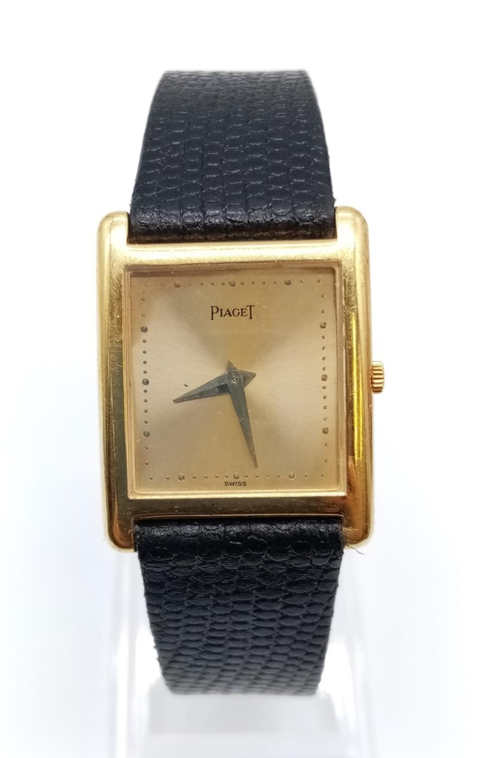 Vintage Plaget 18ct gold ladies watch with square face (22mm) and leather strap