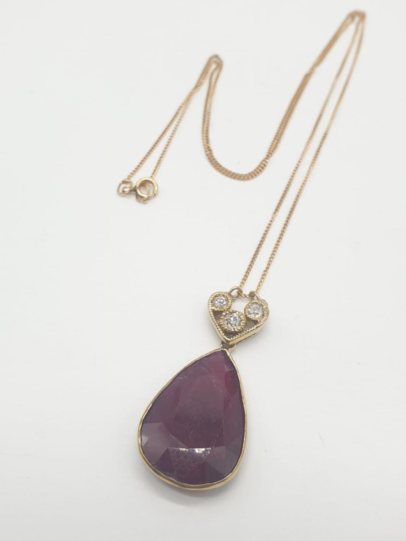 Large PENDANT 10ct Ruby & 3 x Diamonds on 9ct fine CHAIN. 5.1g. 46cm length. - Image 2 of 8