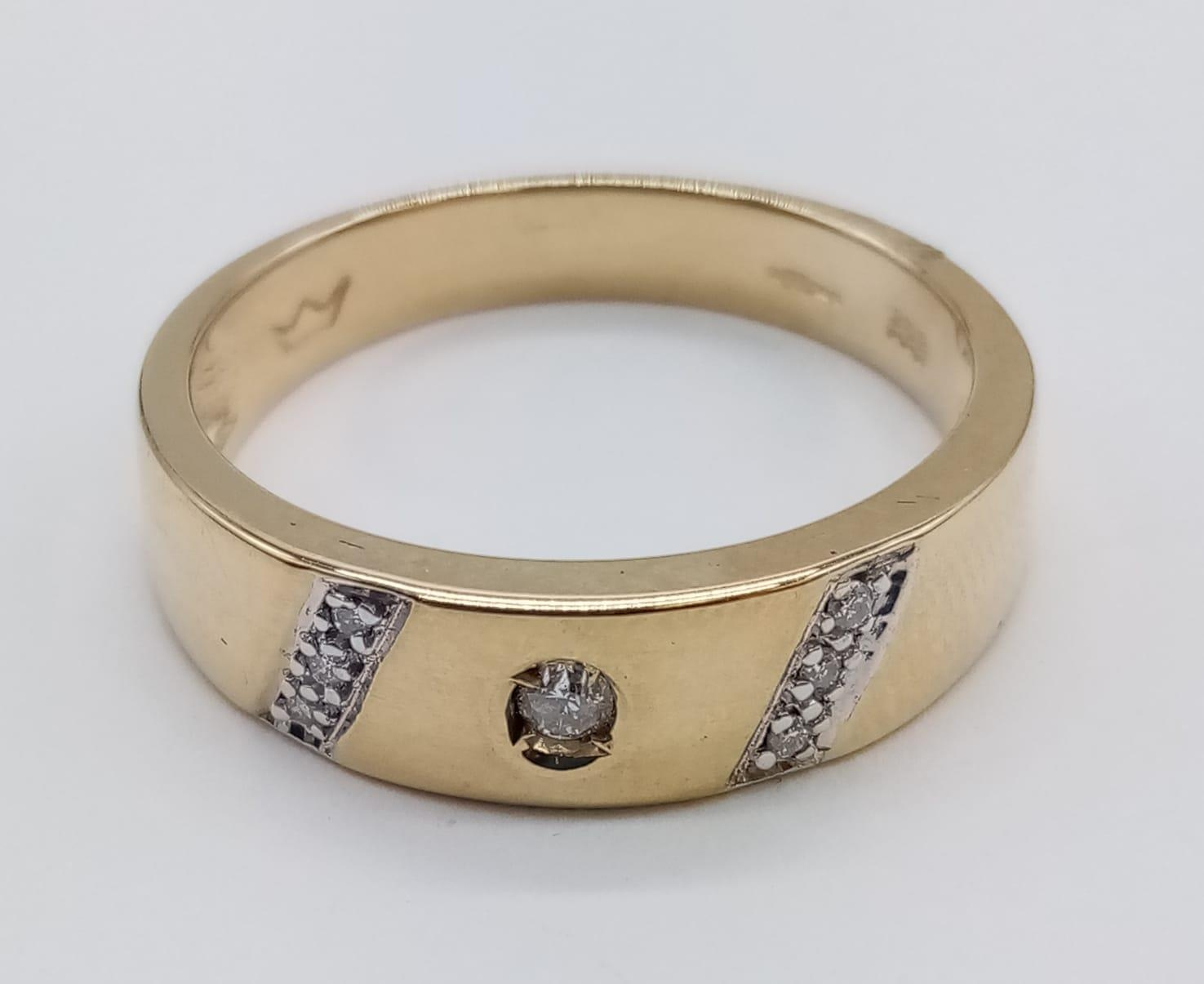 14CT Yellow gold DIAMOND SET BAND RING, weight 3.9G and size P