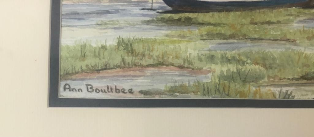 Framed WATERCOLOUR PAINTING of Cockwood Creek by the artist Ann Boultbee. 52 x 43cm - Image 2 of 3