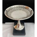 Hallmarked silver Tazza with pierced design to border and clear marking to base for John Batt,