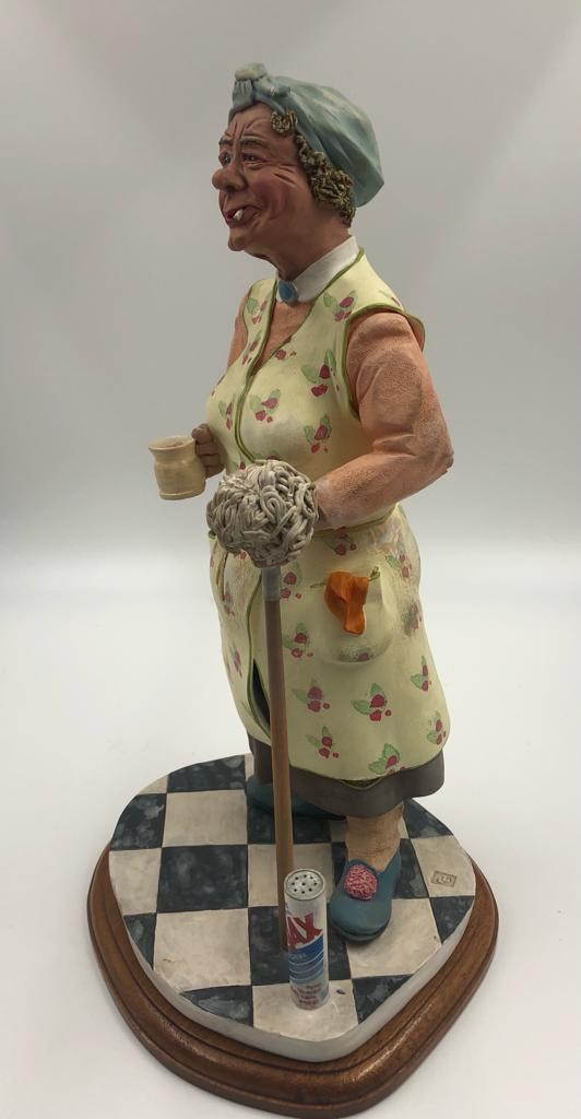 An original Colin George Mrs Mop SCULPTURE. A beautifully detailed piece of ceramic, made in 1985. - Image 3 of 4