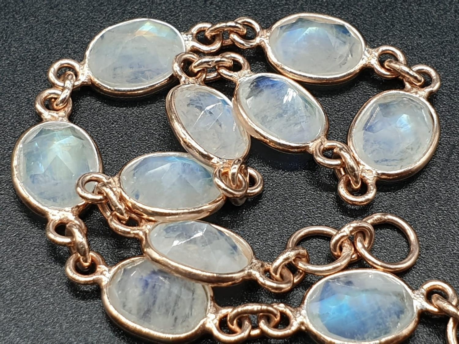 Rainbow Moonstone Bracelet with matching Raw Dangler Earrings in Sterling silver rose gold finish. - Image 4 of 5