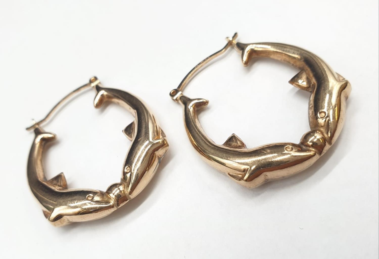 9ct Gold Dolphin Hoop Earrings 2.9g