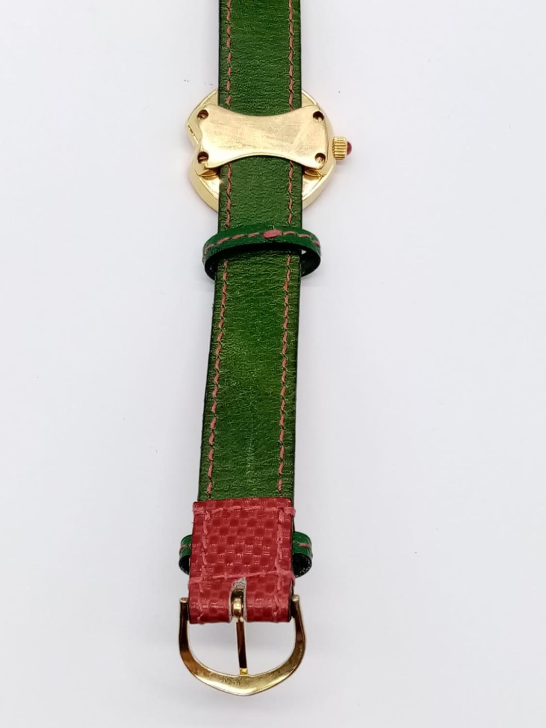 Vintage Bouquet 18ct gold ladies dress watch, round face with emerald, ruby and diamonds surround, - Image 6 of 9