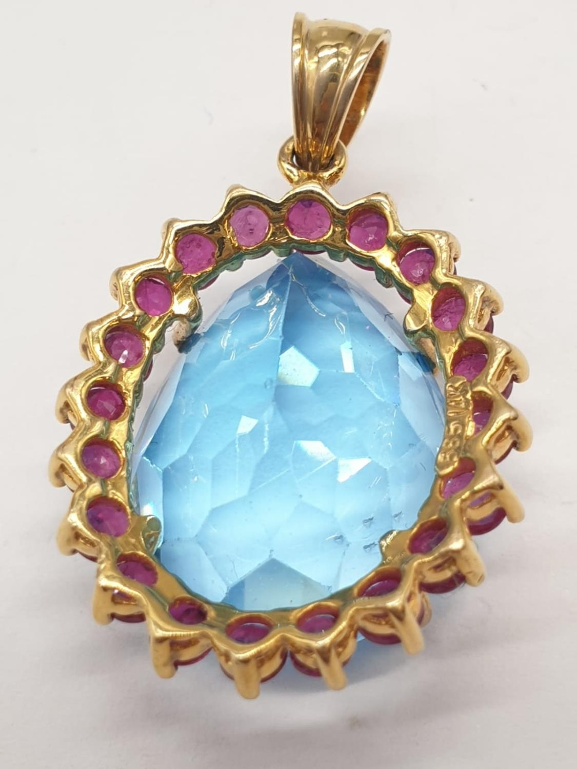 Topaz and ruby in 14ct gold pendant, weight 8g - Image 4 of 5