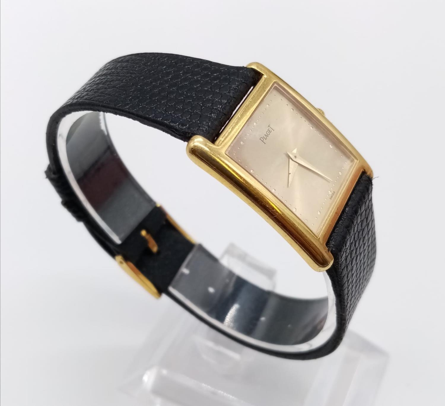 Vintage Plaget 18ct gold ladies watch with square face (22mm) and leather strap - Image 3 of 10