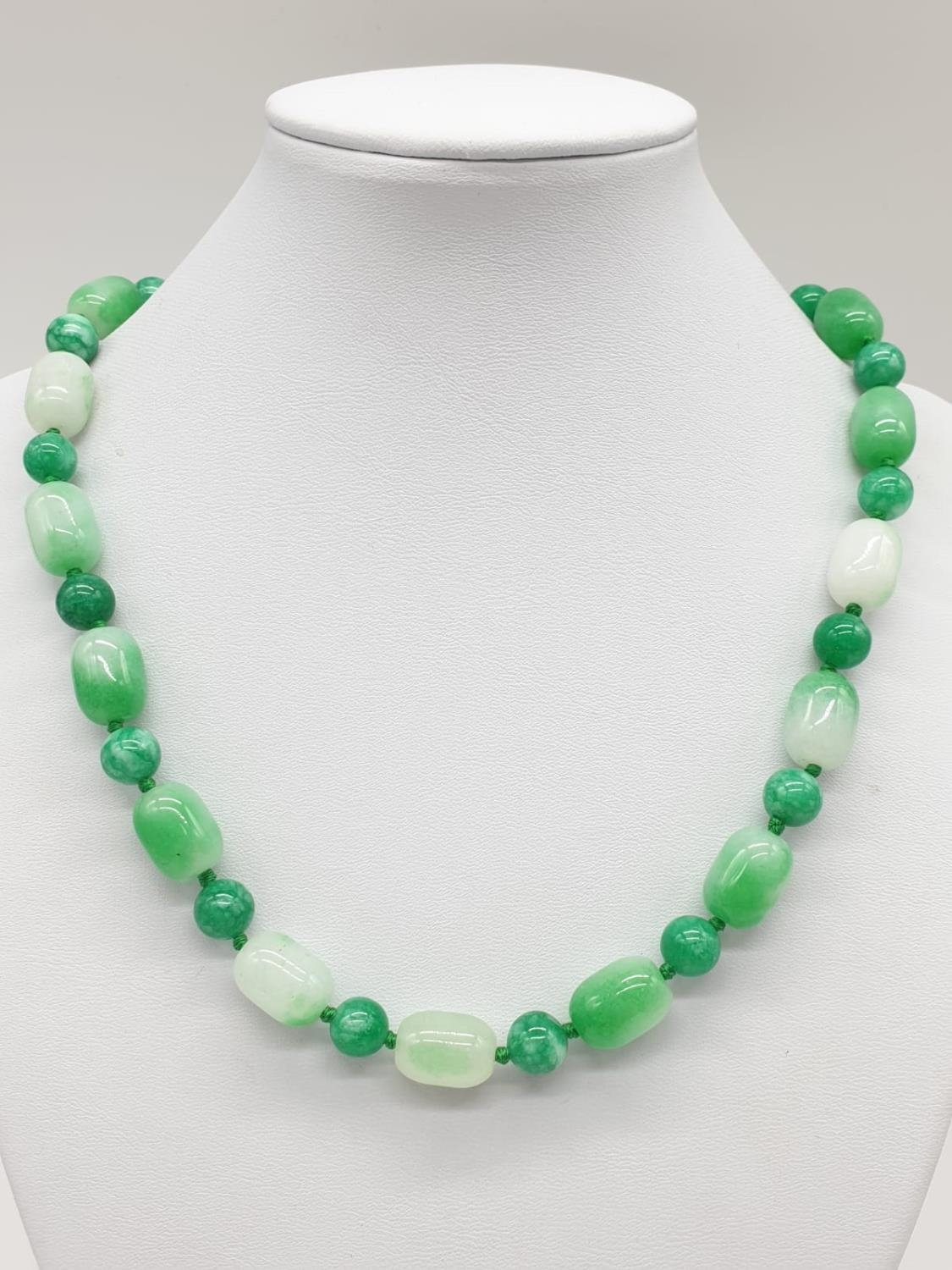 Jade necklace, weight 54g and 42cm long approx