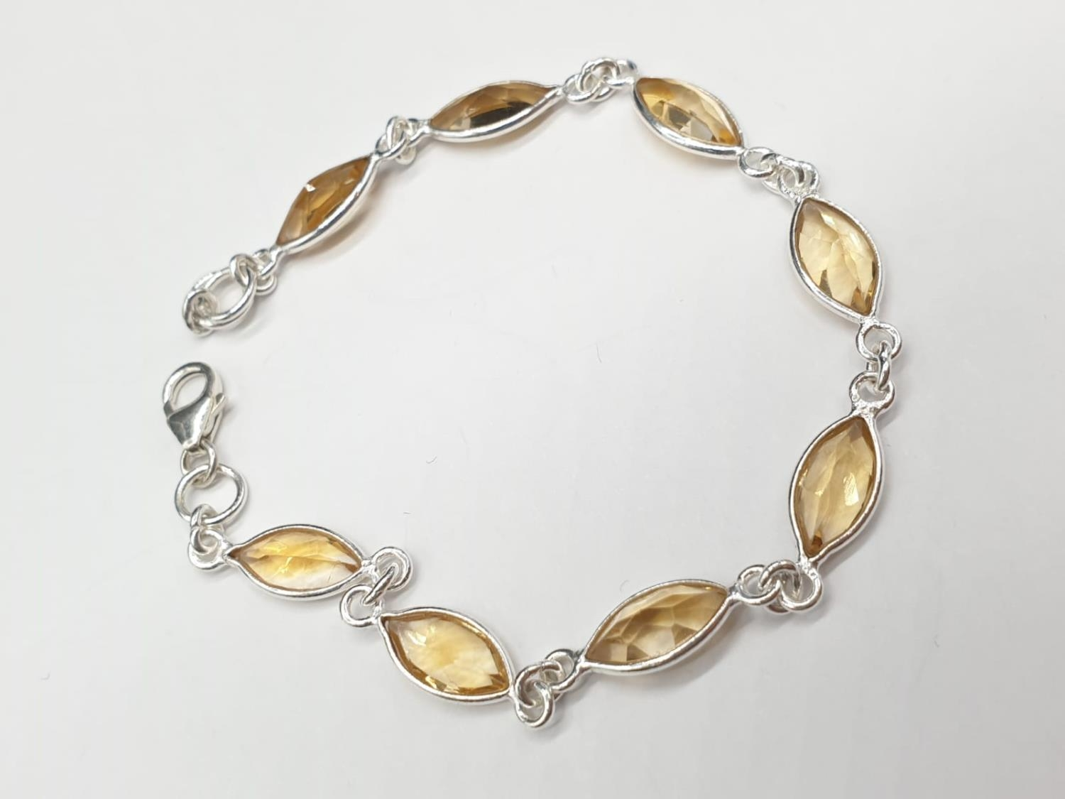 Marquise Shape Citrine Bracelet with Matching Dangler Earrings and Ring in Sterling Silver. Ring - Image 3 of 6