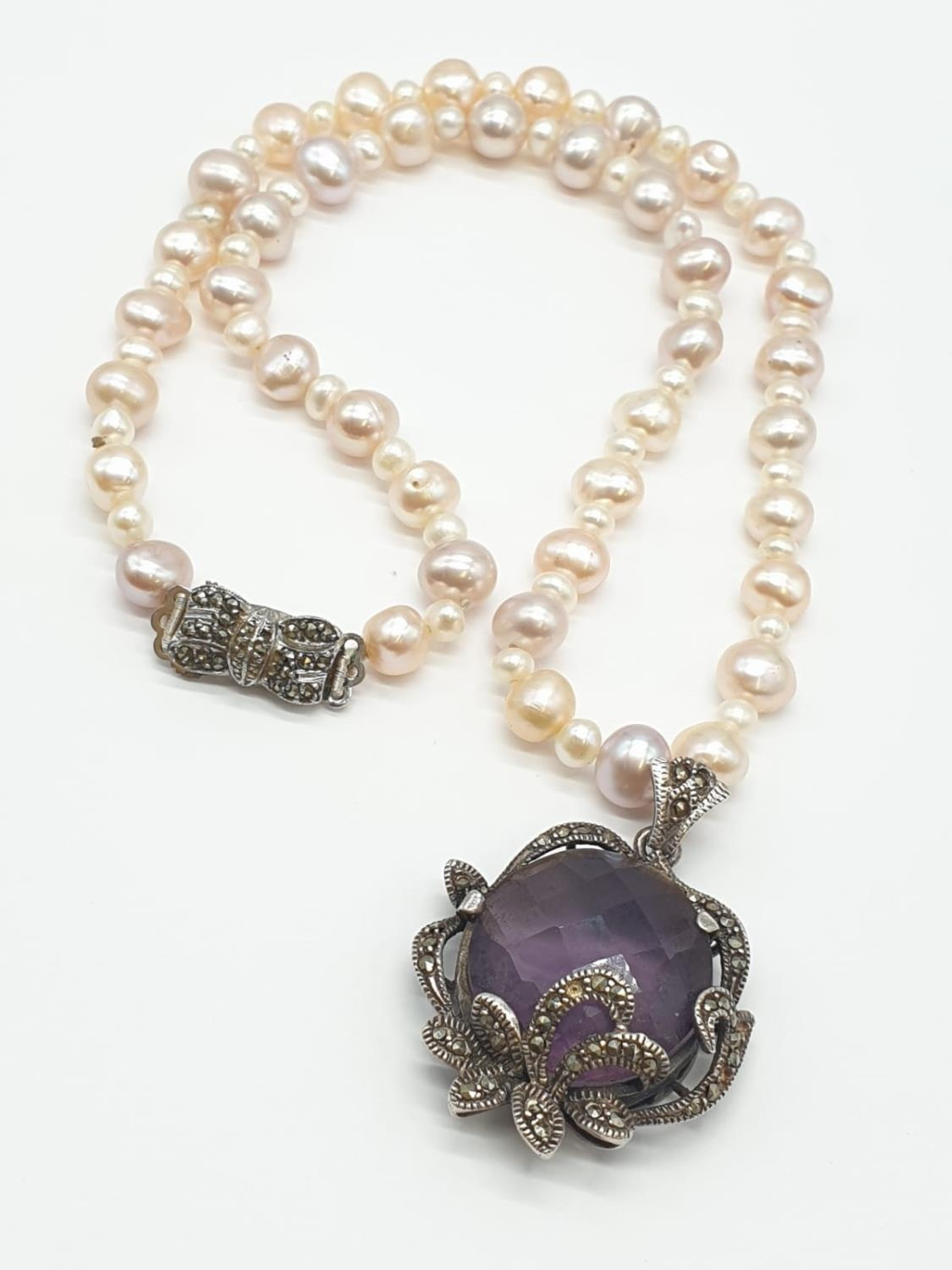 Amethyst and Marcasite NECKLACE with Freshwater Pearl and Silver setting. 40g 44cm