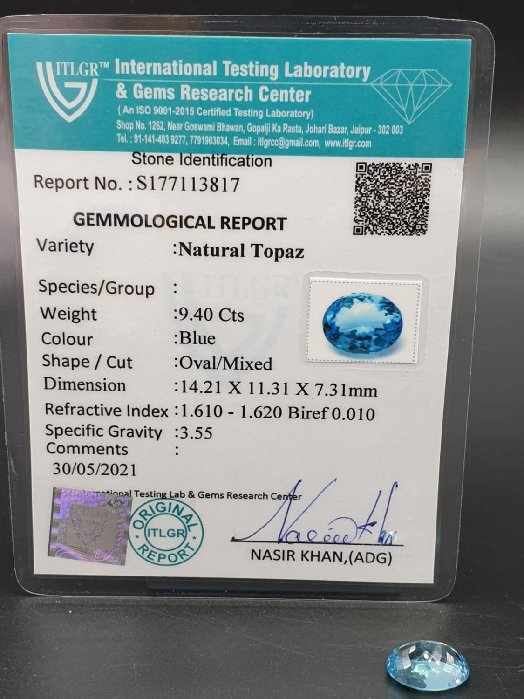 9.40 Ct Natural Blue Topaz. Oval shape. ITLGR certified - Image 4 of 5