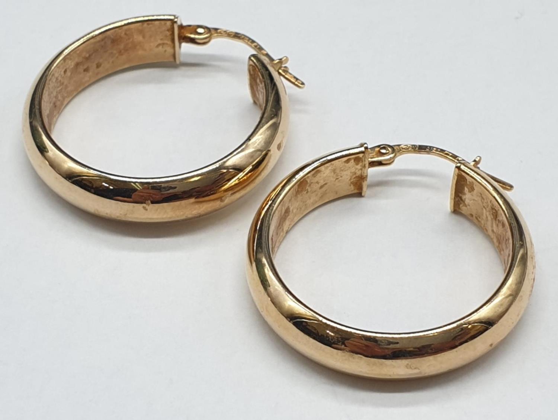 9ct Gold Hoop Earrings 3.7g - Image 2 of 3