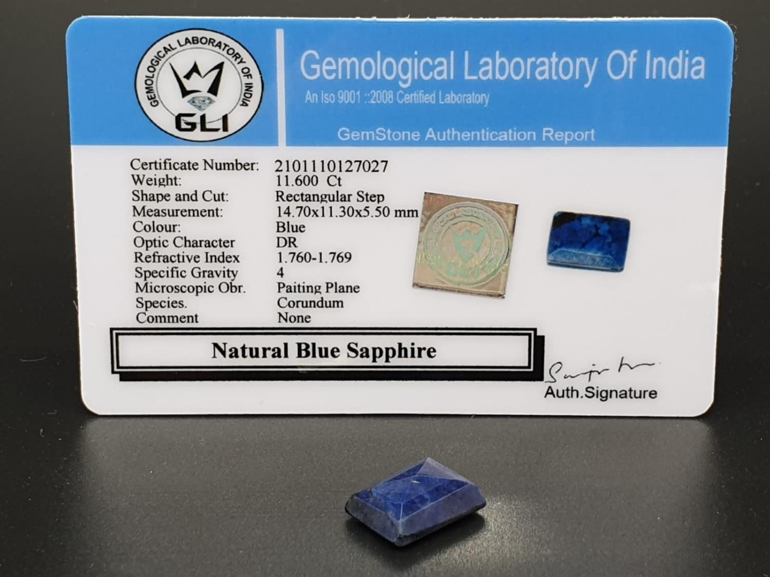 11.60 Ct Natural Blue Sapphire. Rectangular step. GLI certified - Image 3 of 3