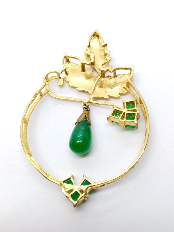 Emerald on Yellow Metal PENDANT. 7.6g - Image 3 of 3