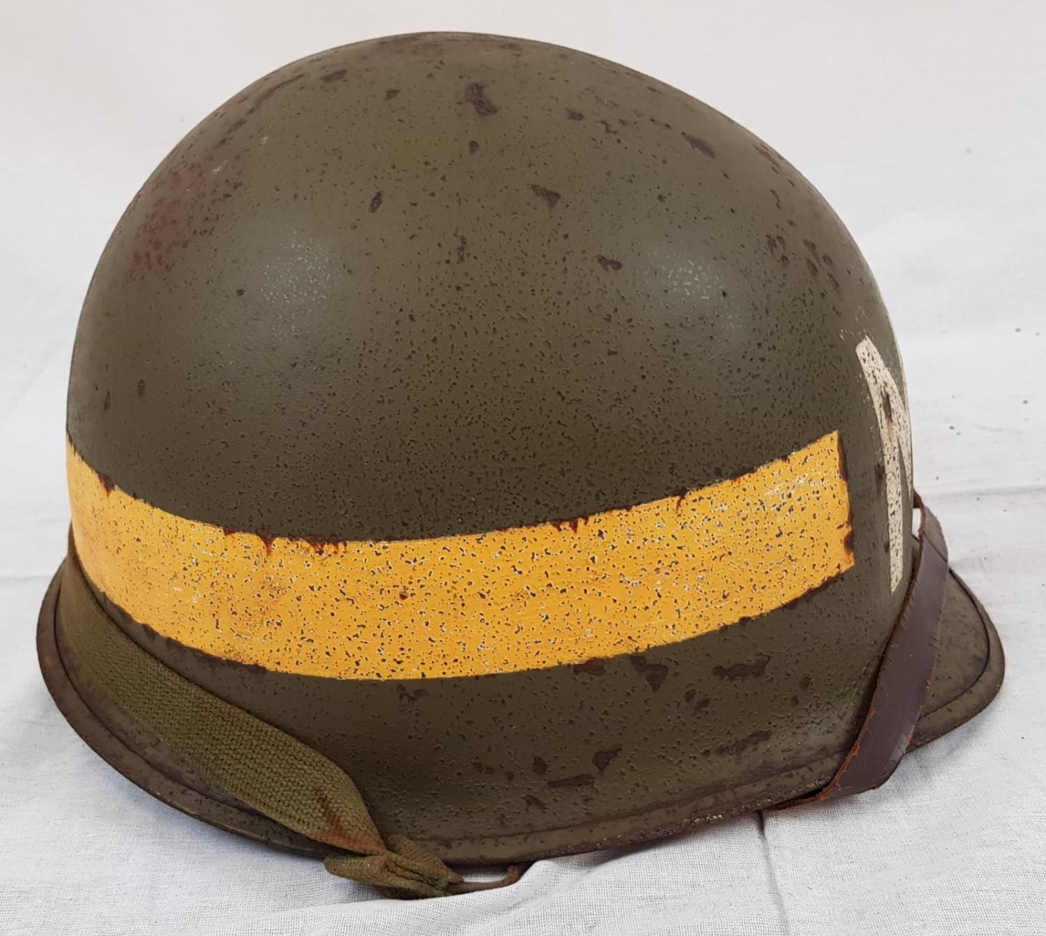 WW2 US M1 Military Police Front Seam Helmet & Liner. The Helmet was made by McCord with the batch - Image 2 of 4