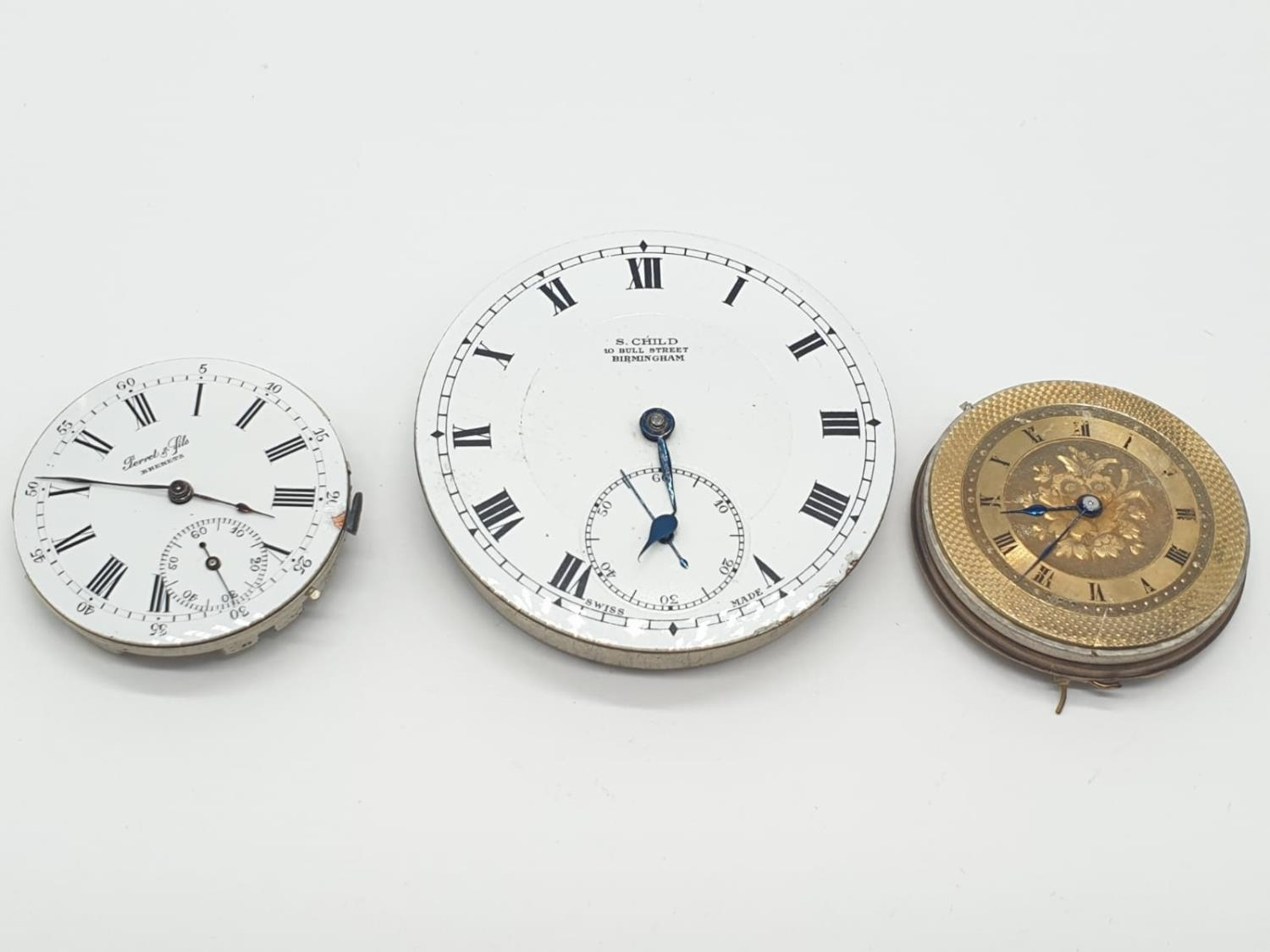3 x Pocket Watch Movements. 3.0 , 3.5 and 4.5 cm.