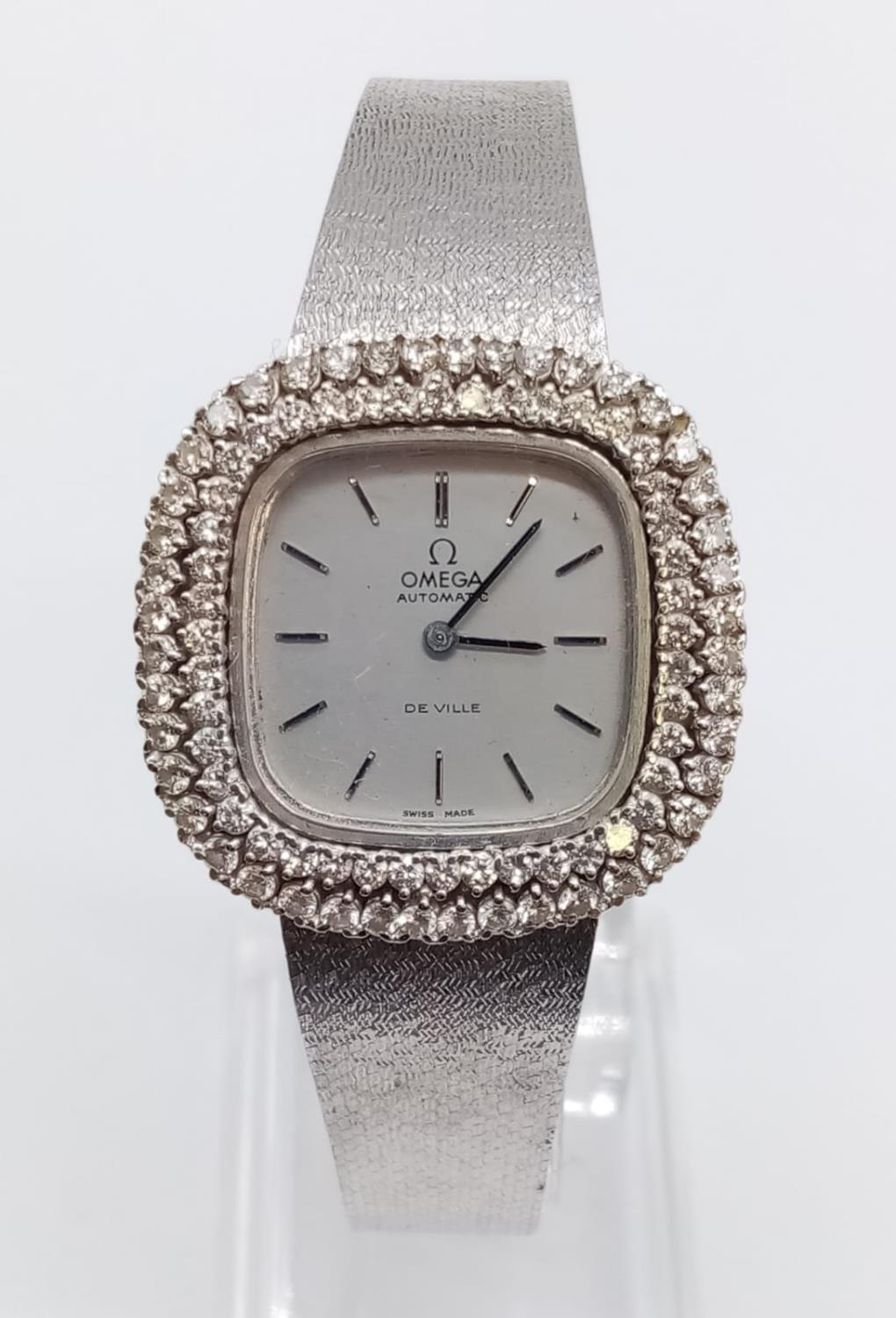Vintage 18ct white gold OMEGA de Ville ladies automatic watch, square face with diamond encrusted