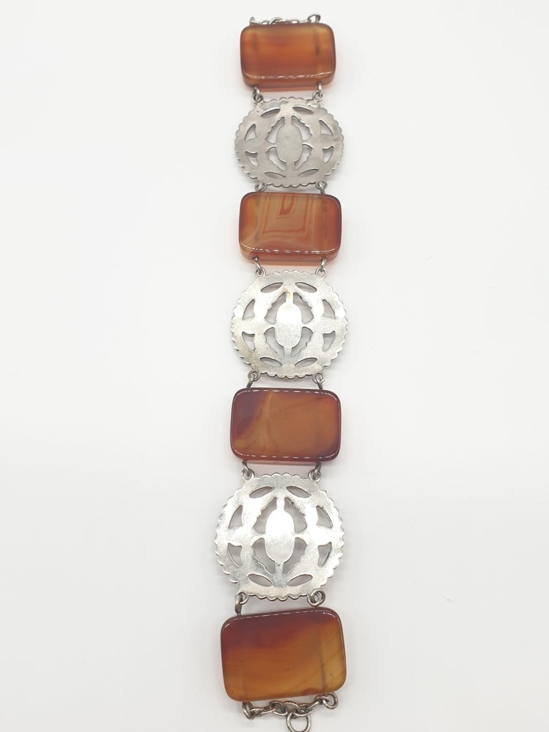 Large Silver agate Scottish bracelet, weight 70g and 22cm long and 3cm wide - Image 4 of 5