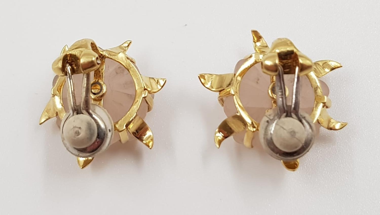 A stunning pair of frosted quartz earrings, each complemented with a small diamond and a 18ct gold - Image 3 of 3