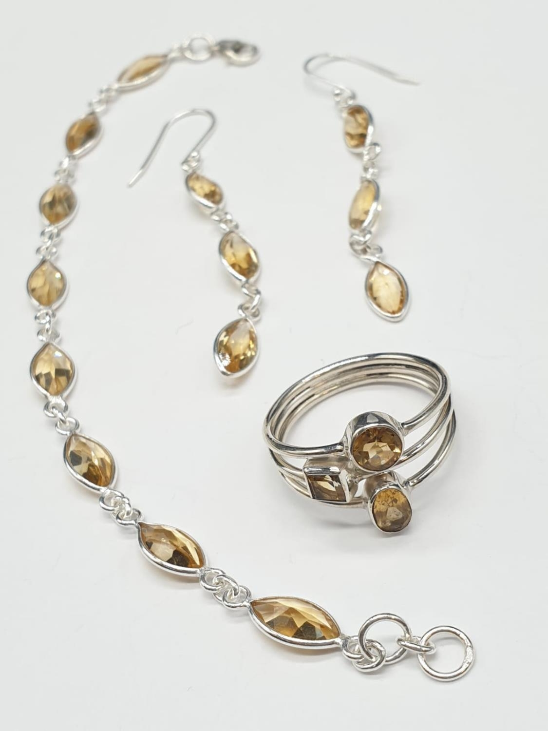 Marquise Shape Citrine Bracelet with Matching Dangler Earrings and Ring in Sterling Silver. Ring
