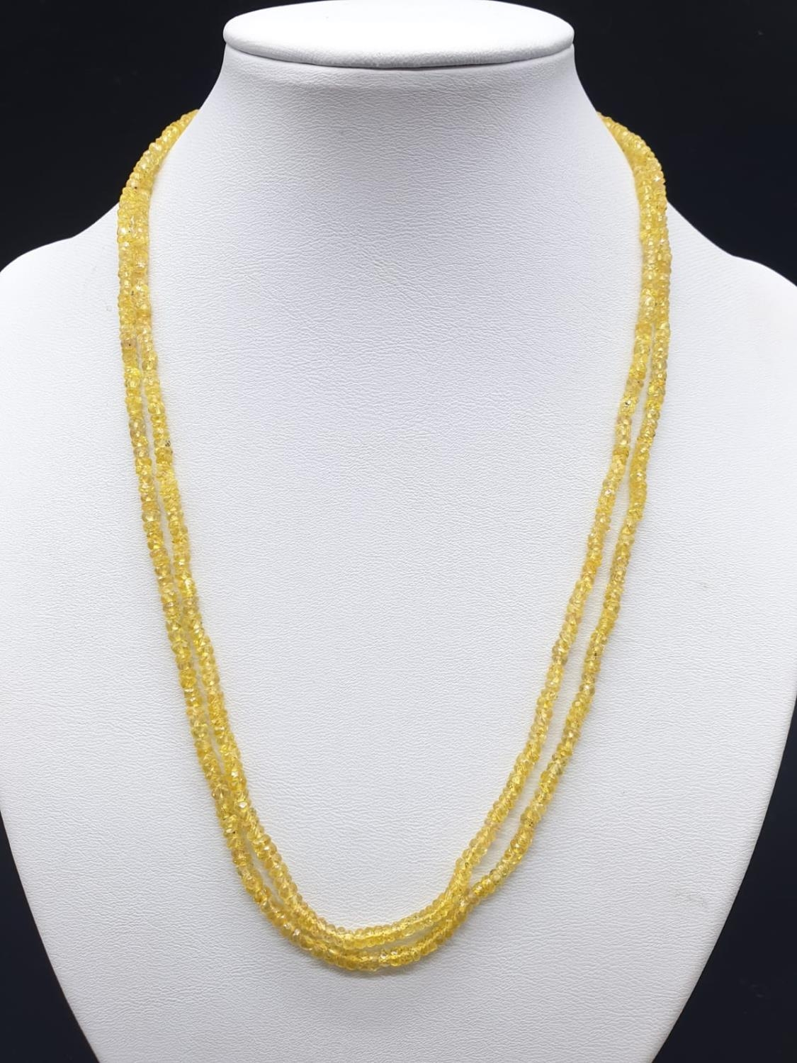 97.50 Cts Natural Yellow Sapphire gemstone beaded necklace. - Image 2 of 5